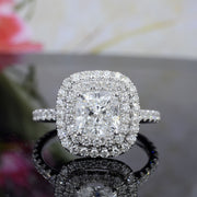 3.35 Ct. Cushion Cut Double Halo Diamond Engagement Ring H Color VS2 GIA Certified
