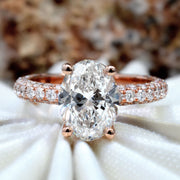 2.50 Ct. Oval Cut 3 Row Diamond Engagement Ring Set H Color SI1 GIA Certified