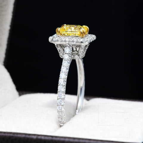 1.90 Ct. Halo Radiant Cut Canary Fancy Yellow Diamond Ring VS1 GIA Certified