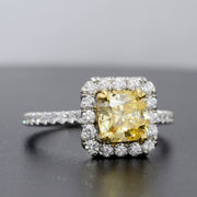 2.70 Ct. Canary Fancy Yellow Cushion Cut Halo Diamond Engagement Ring SI1 GIA Certified
