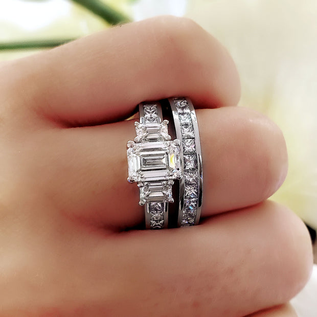 2.10 Ct Royal Emerald Cut w Princess & Baguette Cut Diamond Ring I Color VS1 GIA Certified