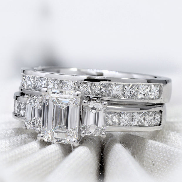 3.20 Ct. 3 Stone Emerald Cut w Baguettes Diamond Ring H Color VVS1 GIA Certified