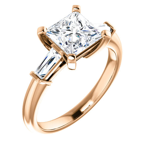1.80 Ct. Princess Cut w Baguettes 3 Stone Diamond Ring I Color VS2 GIA Certified