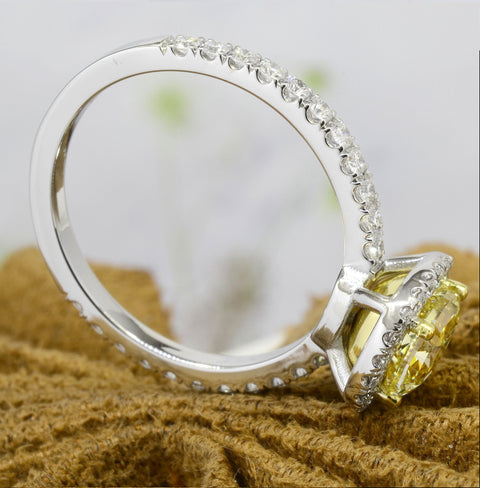 Halo Canary Cushion Cut Diamond Ring Fancy Yellow