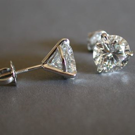 1.40 Ct. Round Cut Martini Diamond Stud Earrings E Color VS1 GIA Certified 3X