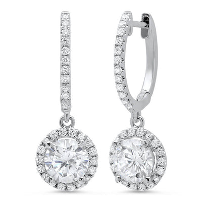 1.86 ct. Lever Back Halo Round Cut Diamond Earrings