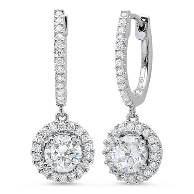 0.90 ct. U-Pave Lever Back Halo Round Cut Diamond Earrings