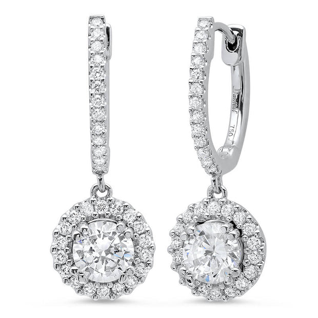 1.10 ct. U-Pave Lever Back Halo Round Cut Diamond Earrings