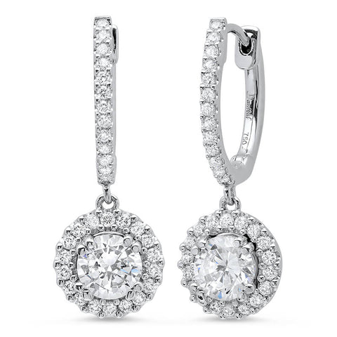 2.50 ct. U-Pave Lever Back Halo Round Cut Diamond Earrings