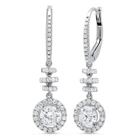 1.24 ct. Dangling U-Pave Lever Back Halo Round Cut Diamond Earrings