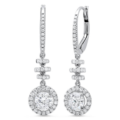 1.34 ct. Dangling U-Pave Lever Back Halo Round Cut Diamond Earrings