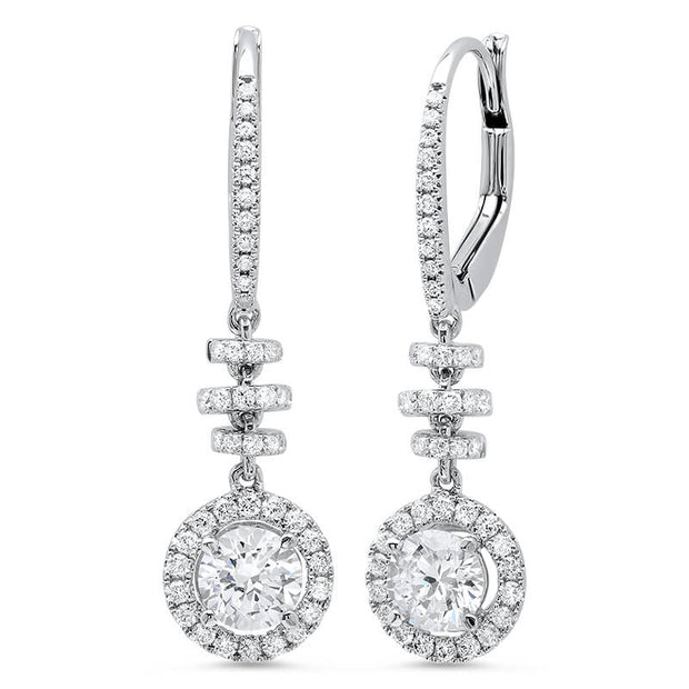 1.44 ct. Dangling U-Pave Lever Back Halo Round Cut Diamond Earrings
