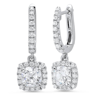 1.70 ct. Cushion Dangling U-Pave Lever Back Halo Diamond Earrings