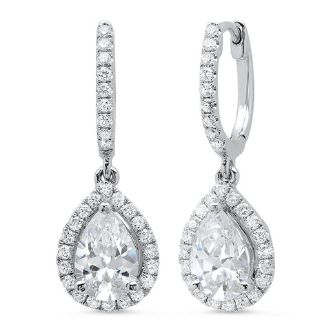 1.14 ct. Pear Dangling U-Pave Lever Back Halo Diamond Earrings