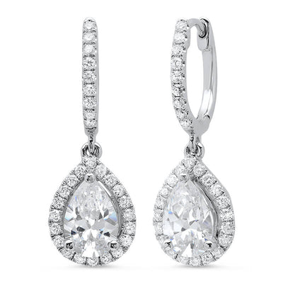 1.54 ct. Pear Dangling U-Pave Lever Back Halo Diamond Earrings