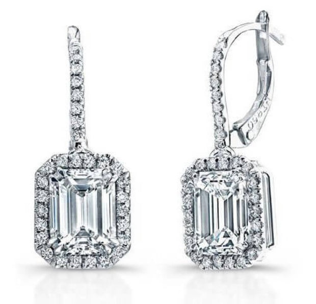 2.00 ct. Emerald Cut U-Pave Lever Back Halo Diamond Earrings