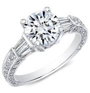 3.26 ct. Round Brilliant Cut W/ Baguette Cut Diamond Engagement Ring G, SI1 GIA
