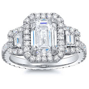 2.34 Ct. Halo Emerald Cut Eternity Diamond Engagement Ring H, VVS1 GIA