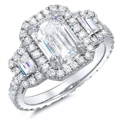 2.80 Ct. Halo Emerald Cut Eternity Diamond Engagement Ring I, VS2 GIA