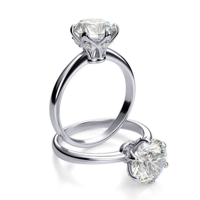 1.35 Ct. Round Cut Diamond Crown Style Engagement Ring H, VVS1 GIA