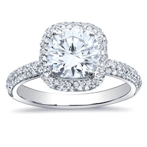2.74 Ct. Cushion Cut Micro Pave Halo Round Diamond Engagement Ring G, VS2 GIA