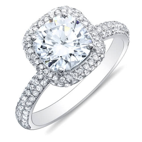 2.74 Ct. Cushion Cut Micro Pave Halo Round Diamond Engagement Ring D, VS2 GIA