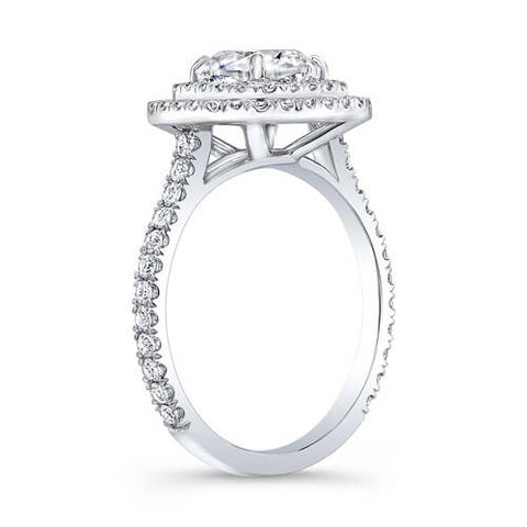 1.92 Ct. Cushion Cut Double Halo U-Setting Diamond Engagement Ring H, VVS1 GIA