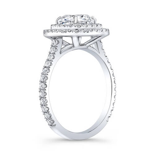4.16 Ct. Cushion Cut Double Halo U-Setting Diamond Engagement Ring G, VS2 GIA