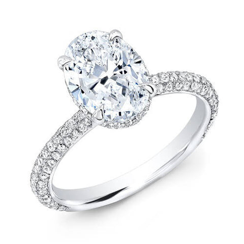 1.65 Ct. Oval Cut Micro Pave Diamond Engagement Ring H, VVS GIA