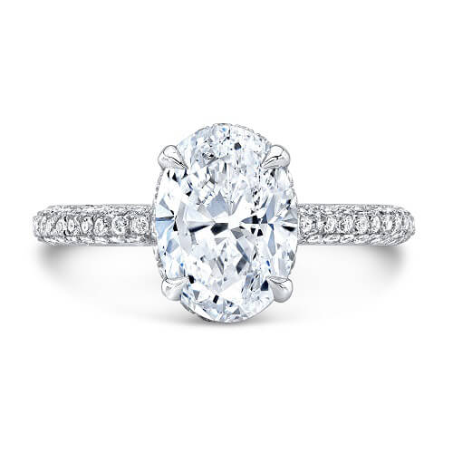 1.85 Ct. Oval Cut Micro Pave Diamond Engagement Ring H, VVS2 GIA