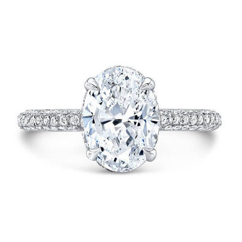2.38 Ct. Oval Cut Micro Pave Diamond Engagement Ring H, VS1 GIA
