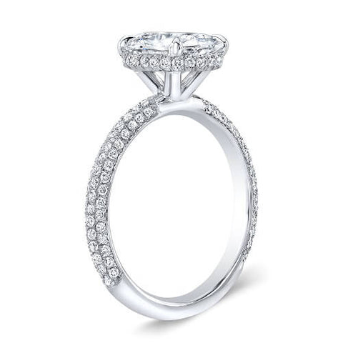 3.16 Ct. Oval Cut Micro Pave Diamond Engagement Ring H, VS2 GIA