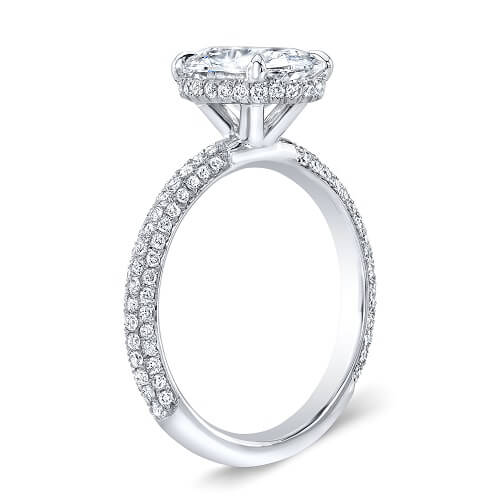 3.37 Ct. Oval Cut Micro Pave Diamond Engagement Ring G, VS2 GIA