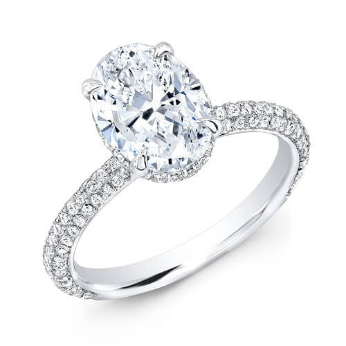 1.95 Ct. Oval Cut Micro Pave Diamond Engagement Ring H, VVS1 GIA