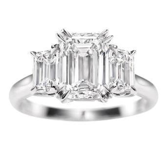 2.60 Ct. 3 Stone Emerald Cut w Trapezoids Diamond Ring F Color VS1 GIA certified