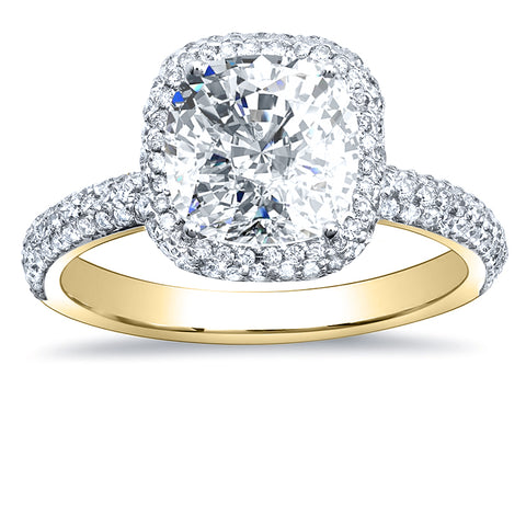3.00 Ct. Halo Cushion Cut Diamond Engagement Ring F Color VS1 GIA Certified