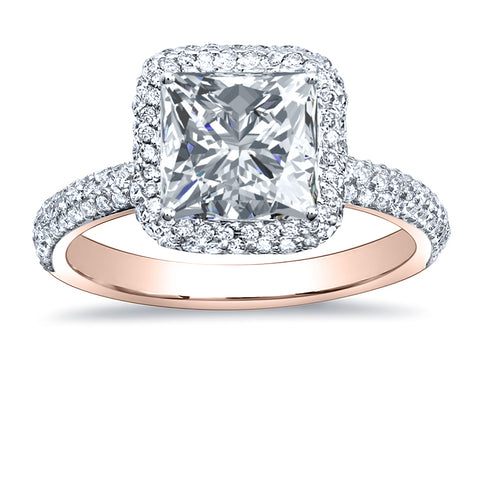 2.45 Ct Princess Cut Halo Pave Diamond Engagement Ring Set G Color VVS1 GIA Certified