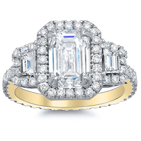 3.10 Ct. Halo Emerald Cut w Trapezoids Diamond Engagement Ring G Color VS1 GIA Certified