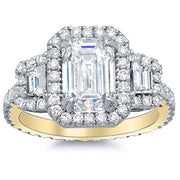 2.30 Ct. Halo Emerald Cut w Trapezoids Diamond Engagement Ring H Color VVS1 GIA Certified