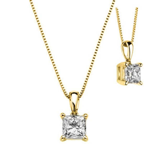 0.70 Ct. Princess Cut Diamond Solitaire Pendant With Chain (GIA Certified)