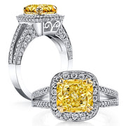 2.25 Ct. Halo Canary Fancy Light Yellow Cushion Cut Diamond Ring VS2 GIA Certified