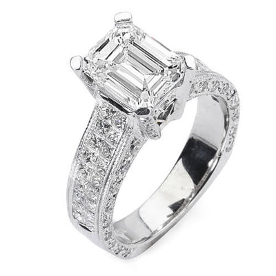 3.89 Ct. Emerald Cut Diamond Engagement Ring I, VS2 (GIA Certified)