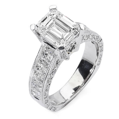4.09 Ct. Emerald Cut Diamond Engagement Ring G, SI1 (GIA Certified)