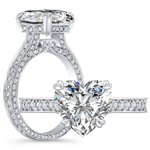 2.80 Ct. Valentino Heart Shape Diamond Engagement Ring H Color VS2 GIA Certified