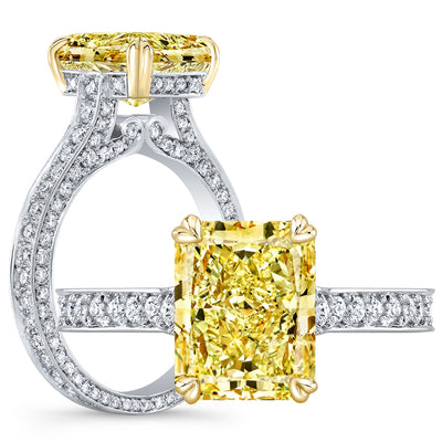 3.95 Ct. Canary Fancy Yellow Elongated Radiant Cut Diamond Engagement Ring VS1 GIA Certified