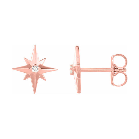 rose gold star diamond stud earrings