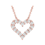 14k rose gold heart outline diamond necklace