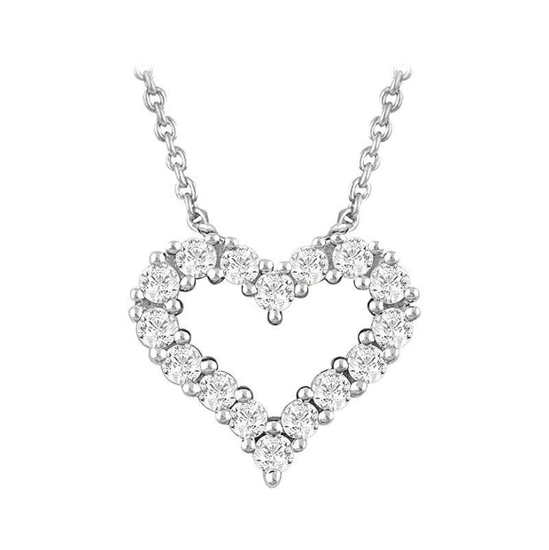 14k white gold heart outline diamond necklace