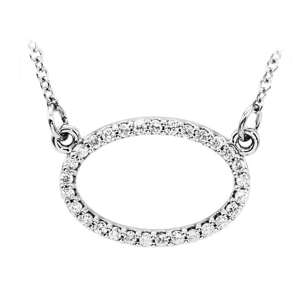 14k white oval diamond pendant