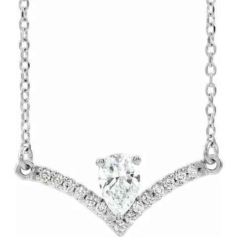 pear diamond chandelier necklace 14k gold